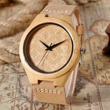 Femmes de 2016 Nouveau De Mode Bambou En Bois Montre-Bracelet Avec Bande de Cuir Véritable Bois Hommes de Montres Horloge Montre Femme