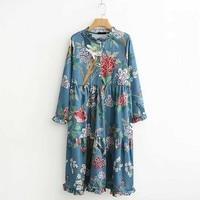 FIRSTTO Bohemia Vintage Ethnic Blue Bloom Floral Bird Tree Branch Print Ruffled Collar Dress Fashion Long Sleeve Loose Dress