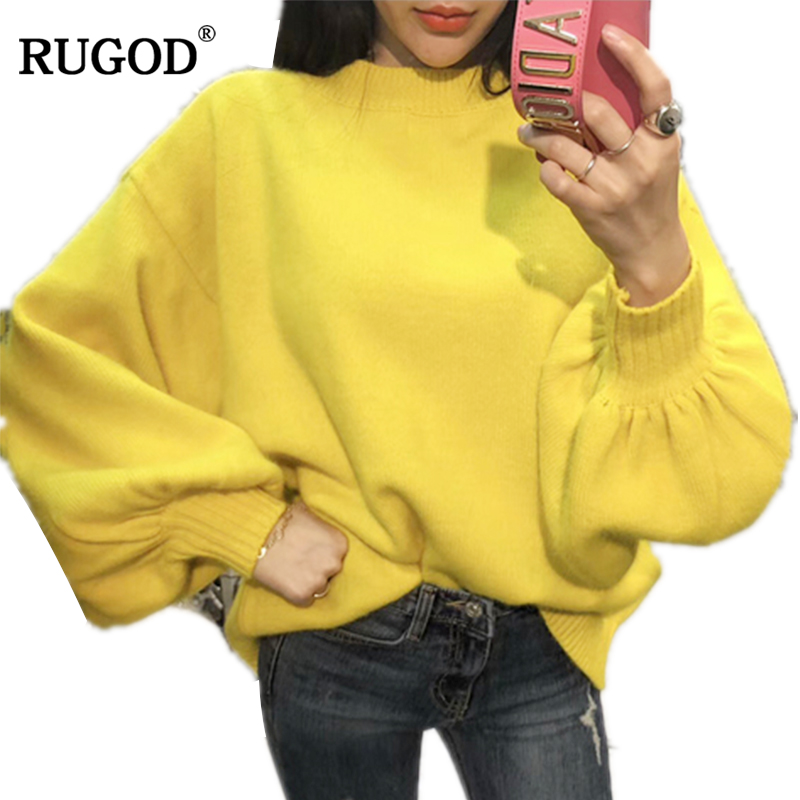 RUGOD 2019 Loose Angora Sweater Women Solid Loose O-neck Lantern Sleeve Sweaters And Pullovers Winter Casual Warm Sueter Mujer