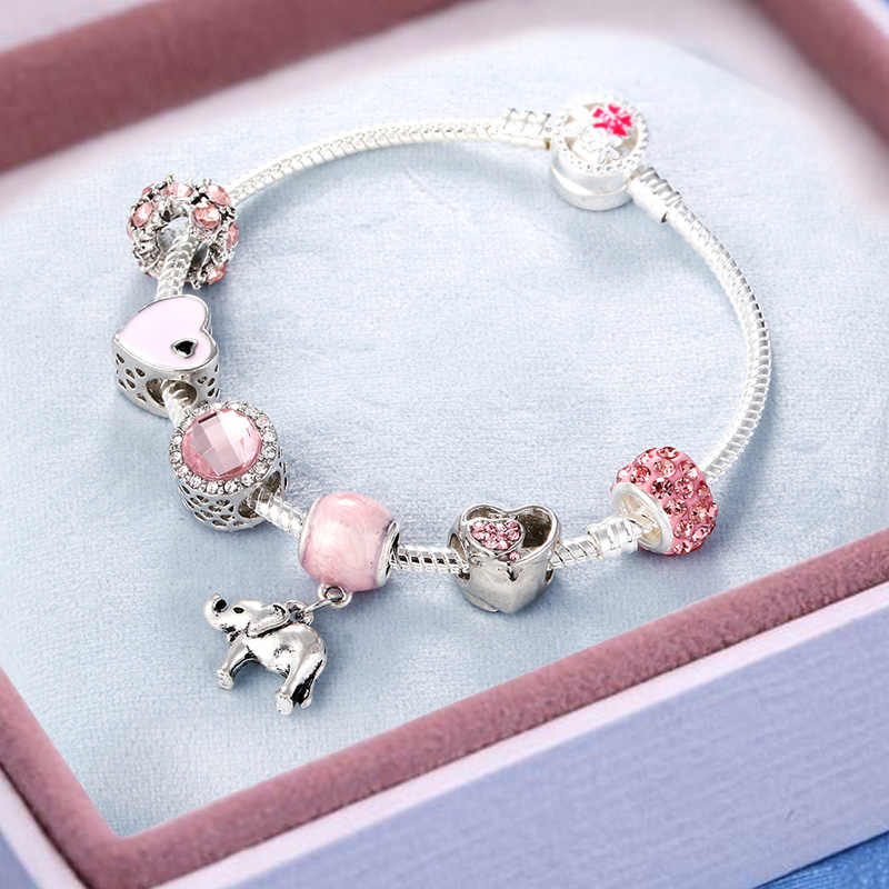 Cute Pink Crystal Silver Snake Chain Bracelets Woman Jewelry Elephant Cherry Pearl Star Moon Pendant Bangles for Girls Gifts