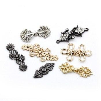 5 pares de hebillas para abrigos de piel de alta calidad, botón de visón hecho de aleación de Zinc, hebillas decorativas de Metal con diamantes de imitación para accesorios de abrigo de piel