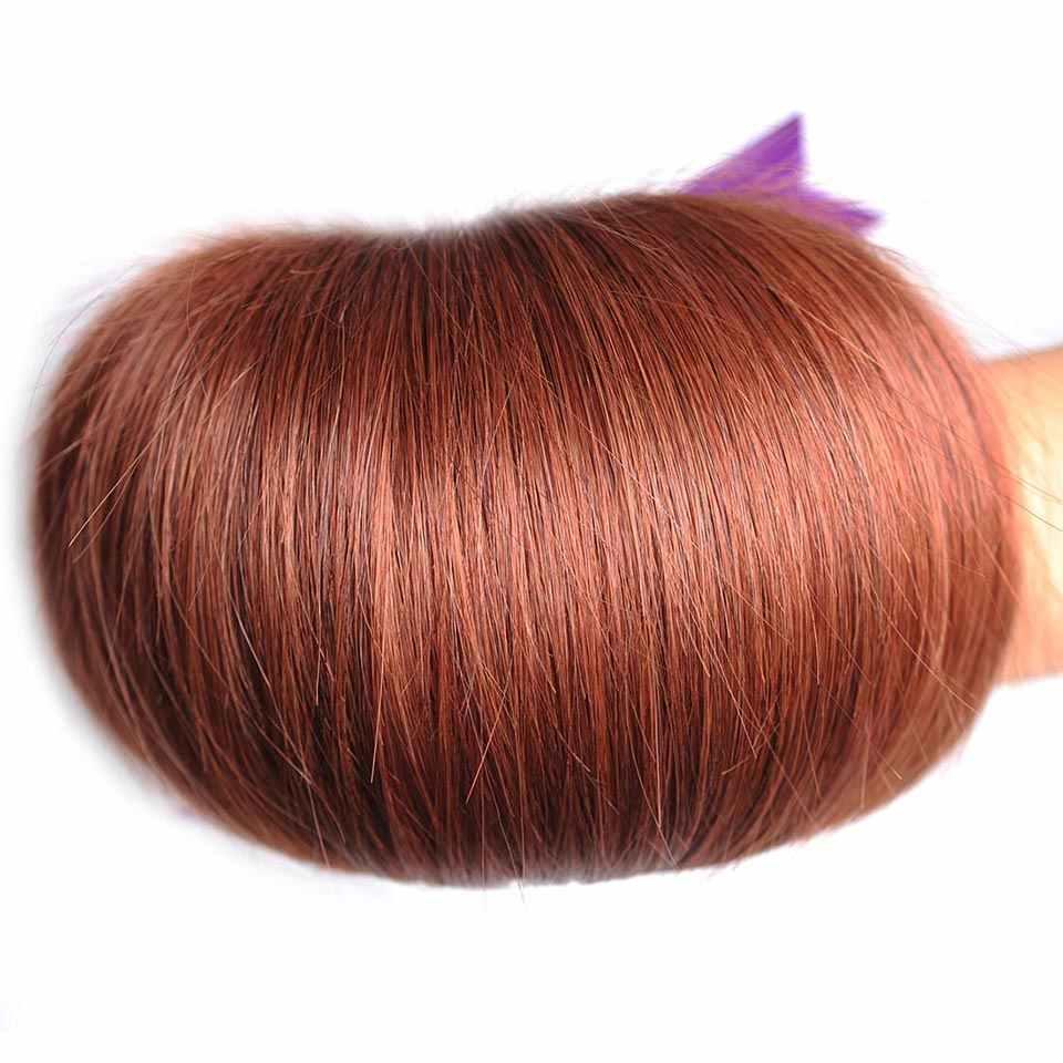 Цвет 33 прямые человеческие волосы пучки коричневый красный перуанские накладные волосы пучки для наращивания 10-26 Инче 1 шт. блестящие звезды не реми волосы