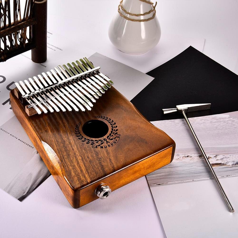 17 touches EQ Kalimba Solide Acacia Piano à pouces Lien Haut-Parleur Électrique Ramassage Avec Sac Câble - 4