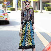 2017 Spring Autumn Runway Suit Set High Quality Fashion Women Black Lace Birds Sequined Blouse Top