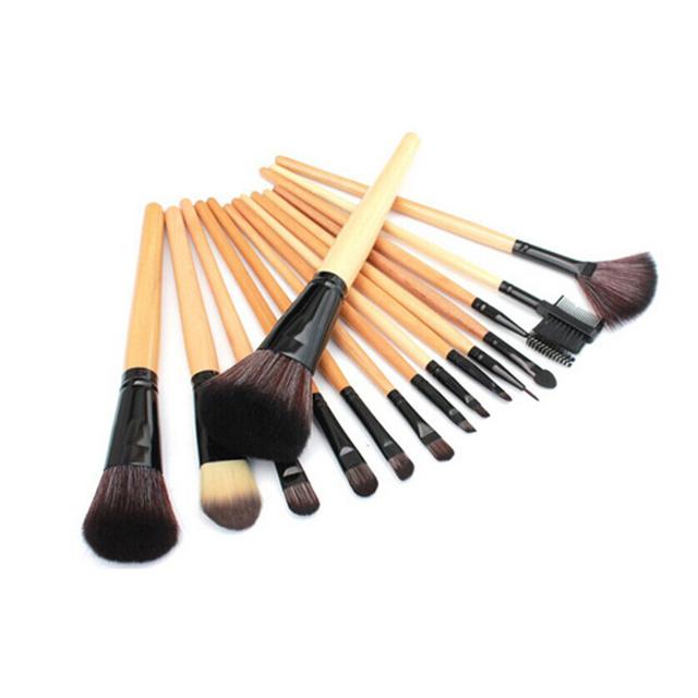 De calidad superior! profesional 15 unids cosméticos pinceles de maquillaje Set con negro de cuero con cremallera bolsa, marca maquillaje pinceles