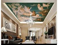 Free Shipping Custom Mural 3d Non Woven Wallpaper World Famous Paintings Of European Style Ceiling One
