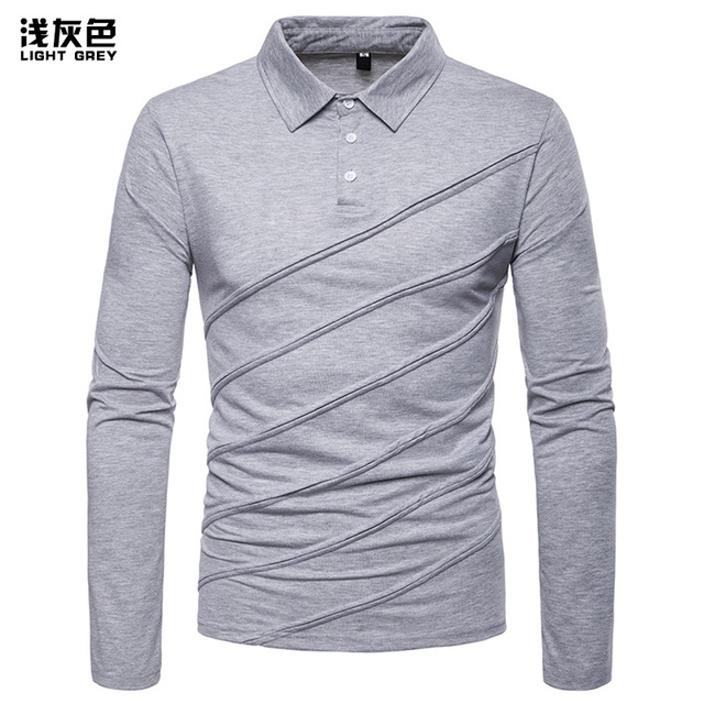 dae51c6564e0 Polo Shirt Men 2019 Spring New Style Polo Fashion Mens Clothing Solid  Patchwork Camisas Business Long