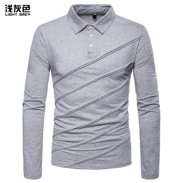 Polo Shirt hombres 2019 primavera nuevo estilo Polo moda hombres ropa Solid  Patchwork Camisas negocios manga 00ac89d68887a