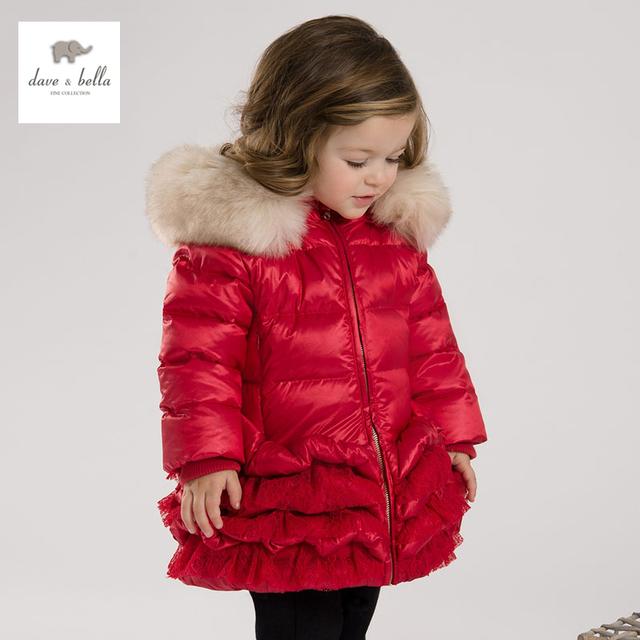 DB3390 dave bella infantil de invierno bebé de la capa abajo de la capa acolchada muchachas muchachas de la capa de pato blanco abajo de plumas rojo chaqueta de color rosa chaqueta