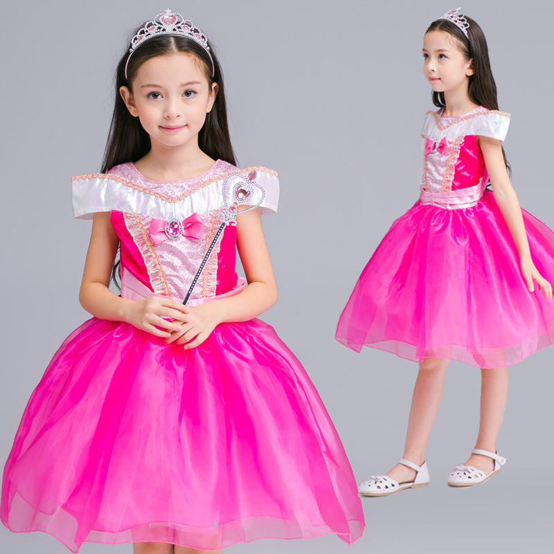 New Girls Movie Cosplay Dress Kids Costume Cartoon Fairy Cinderella Aurora Princess Dress Gown Party Performances Dresses ohcos new 70cm long adult princess anna popular movie figure cosplay wig costume synthetic hair