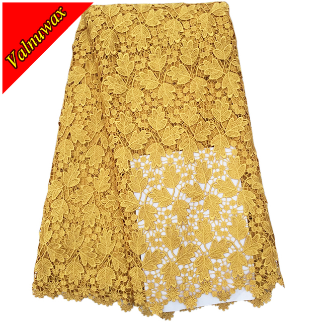 Golden color african lace fabric 2016 design for wedding Good quality water soluble guipure cord lace fabric for wedding-YJ