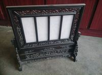 Antique old wood&white jade screen,plum, orchid, bamboo, chrysanthemum,Hand carved carafts,collection,Decoration,Free Shipping
