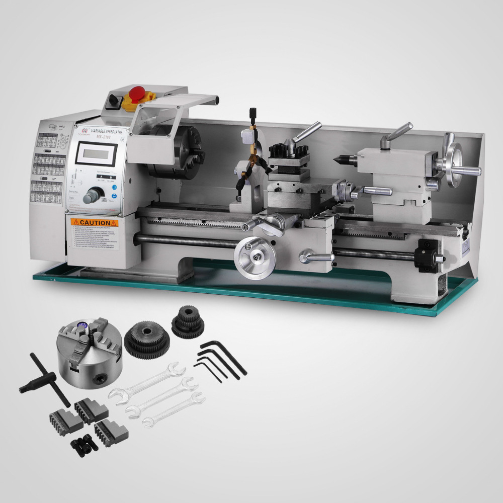750W  Metal Lathe Processing Variable Speed  High-Precision  Shop Benchtop  Variable Speed Mini Lathe With Tool