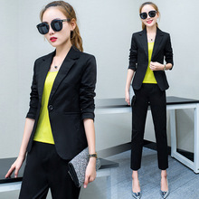 Set female 2018 autumn new temperament casual Slim fashion small suit jacket + nine pants elegant two-piece suit wild