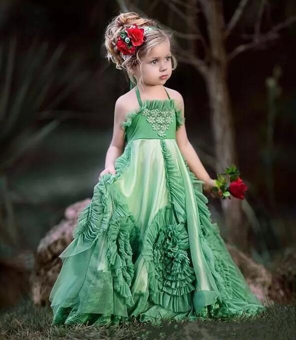 Custom Made Flower Girl Dresses For Weddings Backless Green Halter Floor Length First Communion Dress Girls Pageant Dresses lc6168 2 fashionable slim halter backless dacron midi dress black l