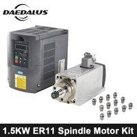 1.5KW 220 В/110 В ЧПУ мотор шпинделя ER11 с воздушным охлаждением шпинделя + VFD инвертор ER11 Цанга древесины маршрутизатор для гравер машины с ЧПУ