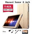 """Para huawei honor 8 """"estojo de couro tablet para T1-823L tablets suporte coldre Moda Virar Folding stand Case Capa + caneta + otg + filme"""