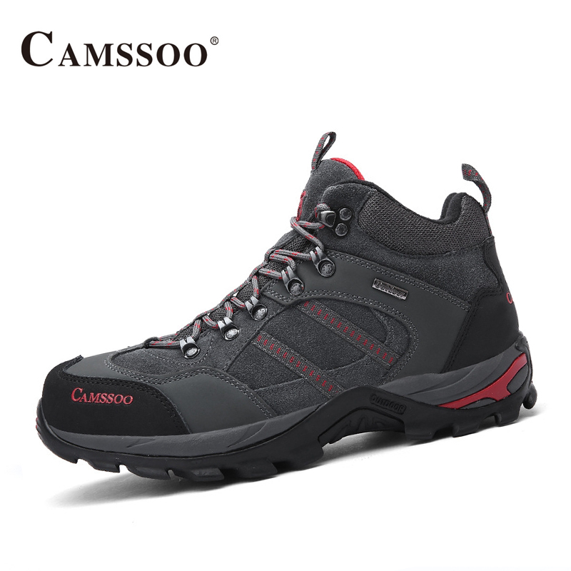 Camssoo Hiking Men Shoes Winter Leather Outdoor Sneakers Men All Match BootsAA50169 yin qi shi man winter outdoor shoes hiking camping trip high top hiking boots cow leather durable female plush warm outdoor boot