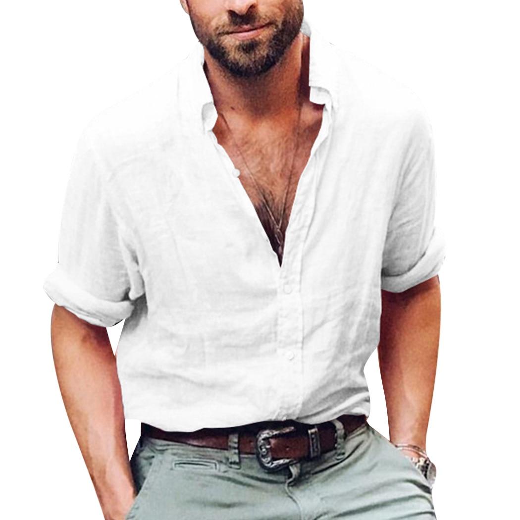 Fashion Summer Tops Mens Linen Shirts Casual Shirts V Neck