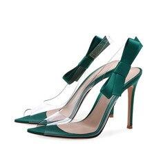 2018 New Thin Heel Transparent PVC + Bow Lady Sandals Shoes Summer Mixed Color Gladiators TL-A0066