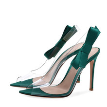 2018 New Thin Heel Transparent PVC + Bow Lady Sandals Shoes
