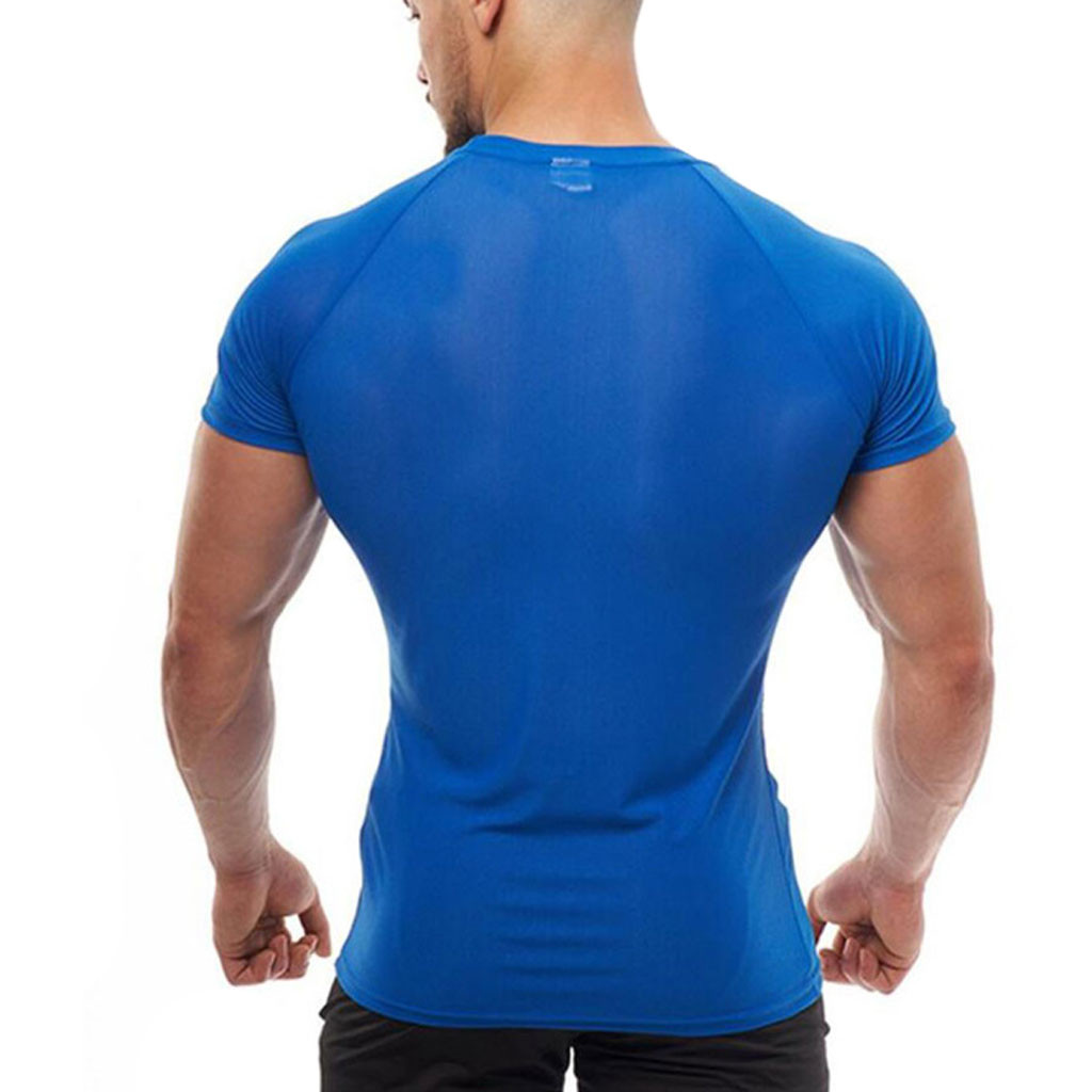 New Men's Smooth Slim Sport T-shirt Fitness Muscle Stretch Soft Tee Tops Clothes Breathable O-neck Solid Color Short Sleeve 4