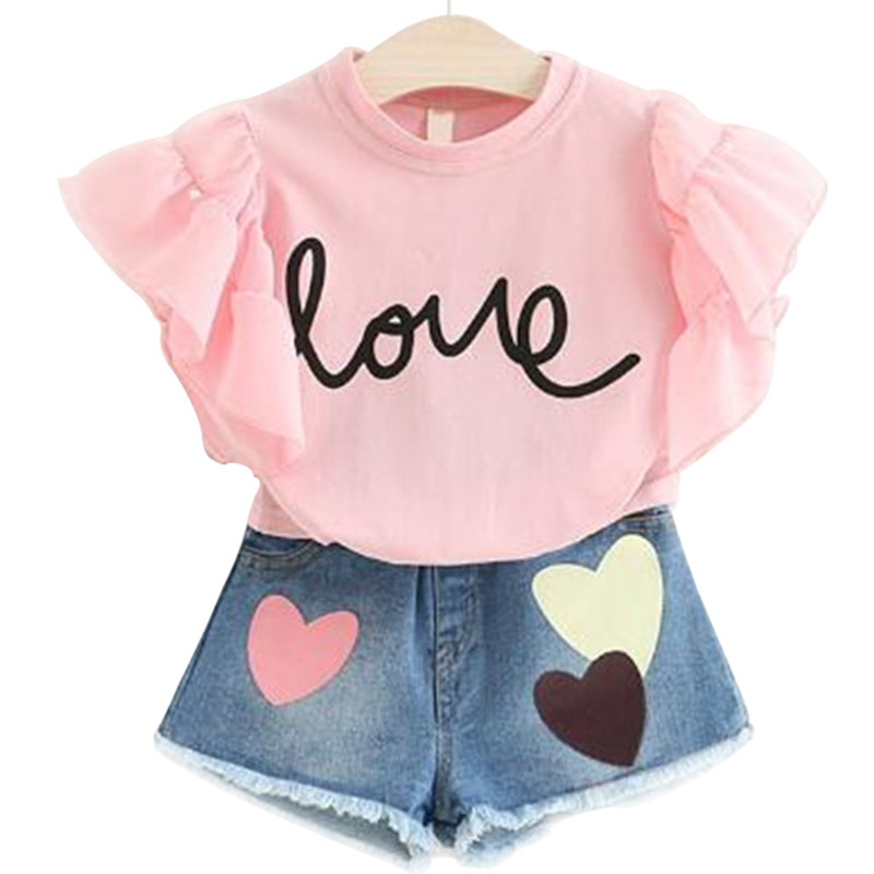 Summer 2019 Kids Fashion Girls Clothing Sets 2 pcs White T-shirt & hole Pants Set for Girls Clothes 2-7 Years(China)