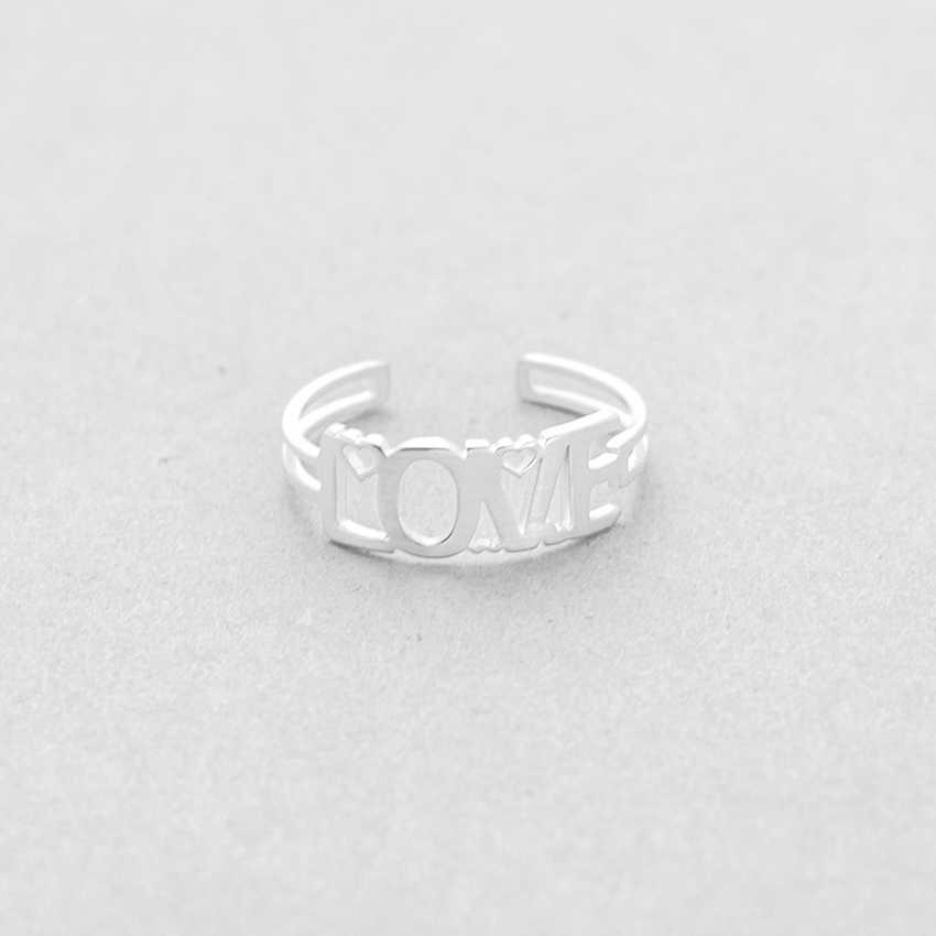 Романтическое полое римское кольцо любви Bijoux Femme подарок на день Святого Валентина золотые серебряные кольца на средний палец для пары свадебные украшения