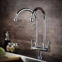 New Arrival Brass Double Pipe Hot And Cold Deck Mounted Kitchen Faucet Sing Tap