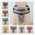 drop shipping Infinity Love Supernatural Wrap Bracelet Pentagram Wings Charm Black Wax Suede Leather Bracelet Custom any Themes