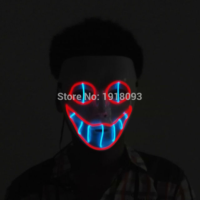 horror lighting. Sound Active EL Wire Horror Smile Mask Halloween Glowing Festival LED Novelty Lighting