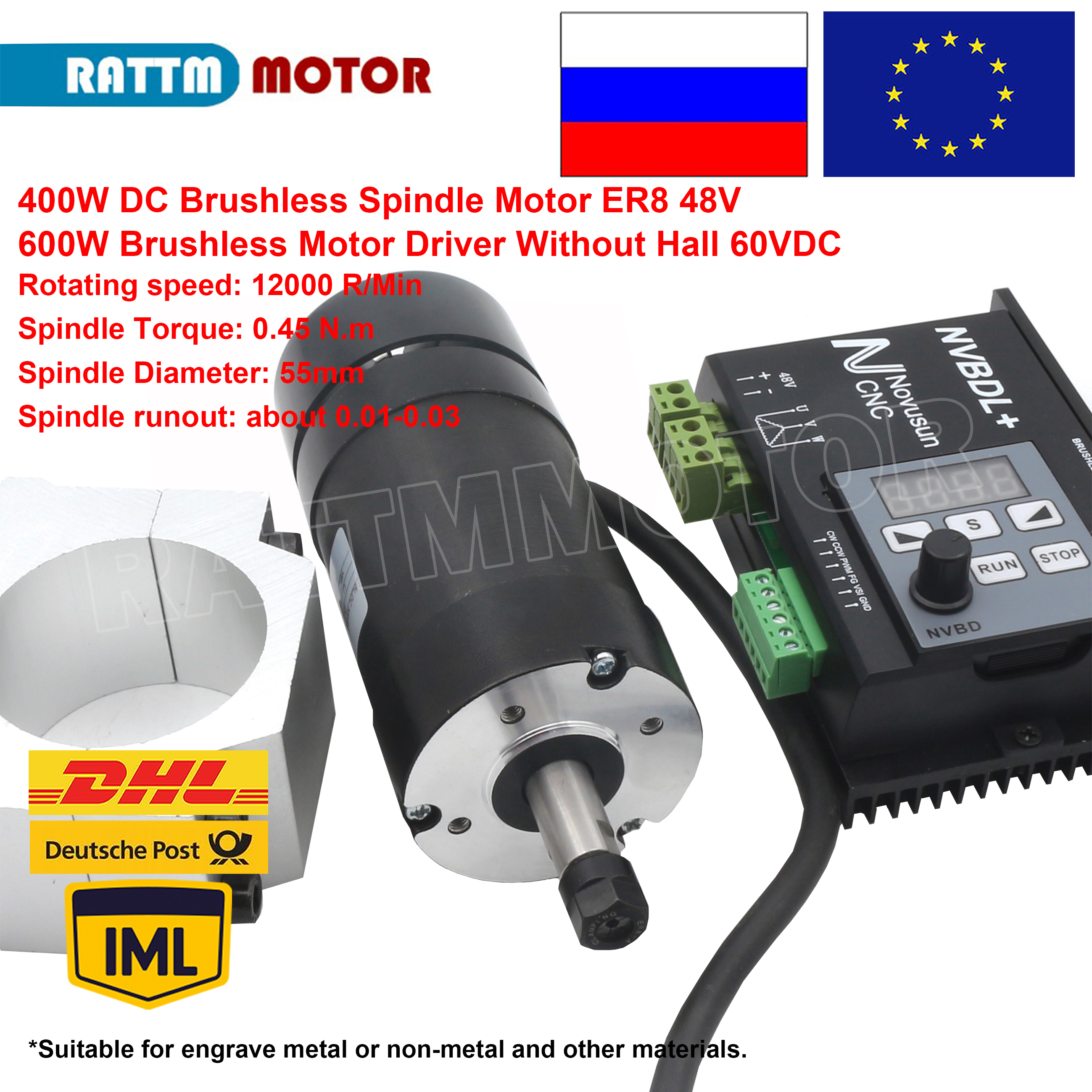 400W 48VDC Motor Air cooled Spindle Brushless ER8 600W 60VDC Brushless Motor Driver Without Hall for