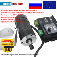 400W 48VDC Motor Air cooled Spindle Brushless ER8 +600W 60VDC Brushless Motor Driver Without Hall for CNC Engraver Machine