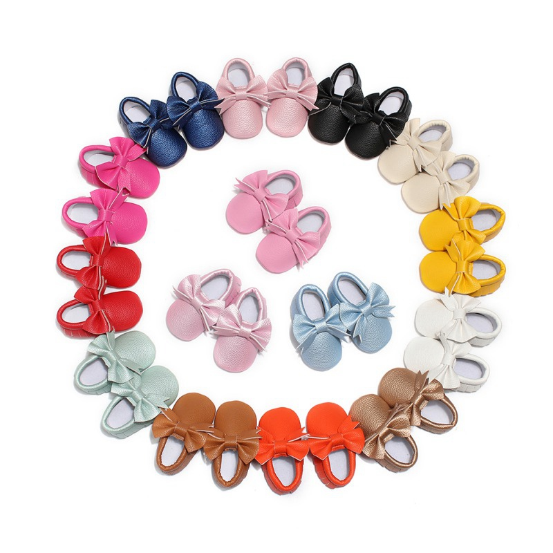 Solid Toddler Shoes Newborn Baby First Walk Shoes Girl Soft PU Leather Prewalker Anti-slip Shoes Bow Footwear Shoes