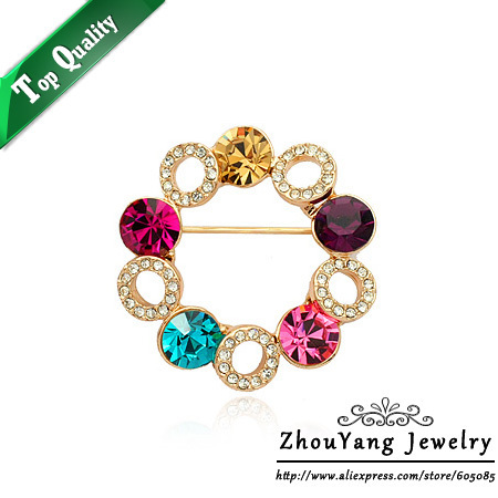 ZHOUYANG ZYX007  Gold Plated Elegant Colorful Sky Wheel Brooches Jewelry Austrian Crystal  Wholesale