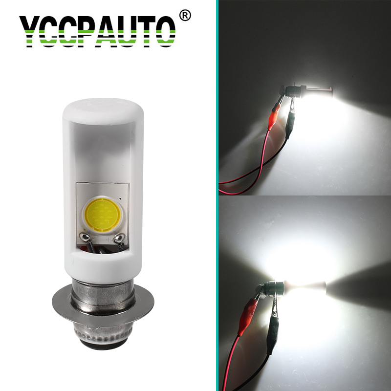 YCCPAUTO 1Pcs H6M PX15D P15D LED Motorcycle Headlight White 6000K COB Ceramics Bulb 1200LM Bike Scooter Moto LED HeadLamp 12V