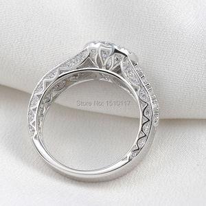 Image 3 - Newshe Halo חתונת אירוסין טבעת 1.8 Ct עגול לחתוך AAA CZ מוצק 925 כסף סטרלינג תכשיטים קלאסיים לנשים JR4232