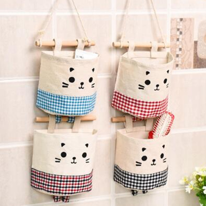 Wall Hanging   Storage Bags Cotton Linen Closet Children Room  bathroom for Toys Books Cosmetic Sundries Toys Organizer
