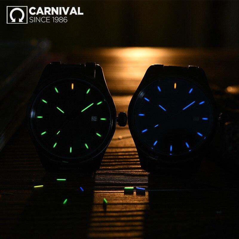 Carnival New T25 Tritium Luminous Quartz Watch Men Full Steel Black Watches Mens Clock Army Man Sport Wristwatch erkek kol saati - 4