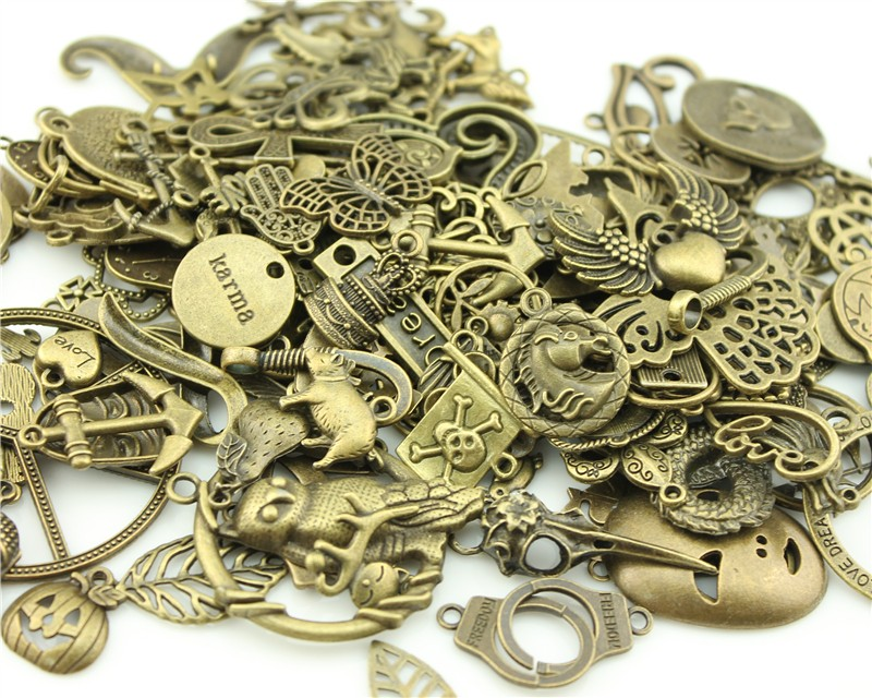 30pcs Mixed Wholesale Metal Alloy Charms Tibetan Silver Bronze Gold Charm Pendants Fits European Bracelets Jewelry Making