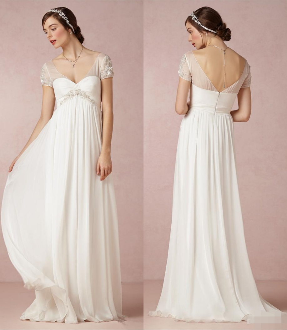 Aliexpress buy 2017 bohemian maternity wedding dresses cap aliexpress buy 2017 bohemian maternity wedding dresses cap sleeves draped chiffon plus size beach low back sexy boho bridal gowns empire waist from ombrellifo Image collections