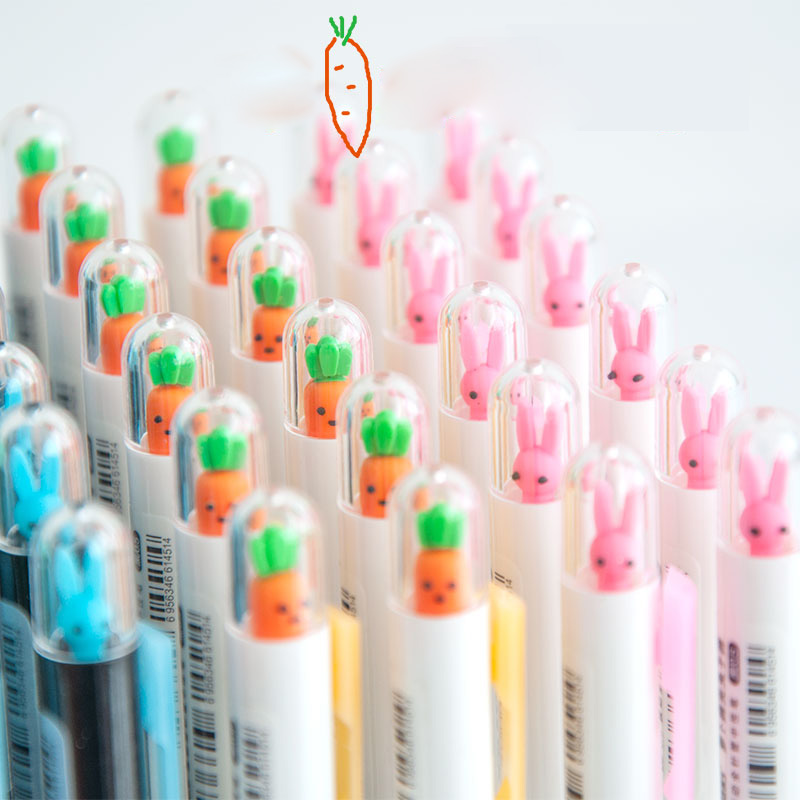 G33 2X Cute Kawaii Rabbit Carrot Automatic Mechanical Pencil Writing School Office Supply Student Stationery 0.5mm