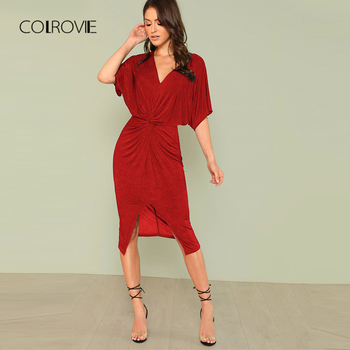 COLROVIE Red V Neck Twist Front Half Sleeve Split Sexy Bodycon Dress Solid Elegant Midi Party Dress Women Dresses