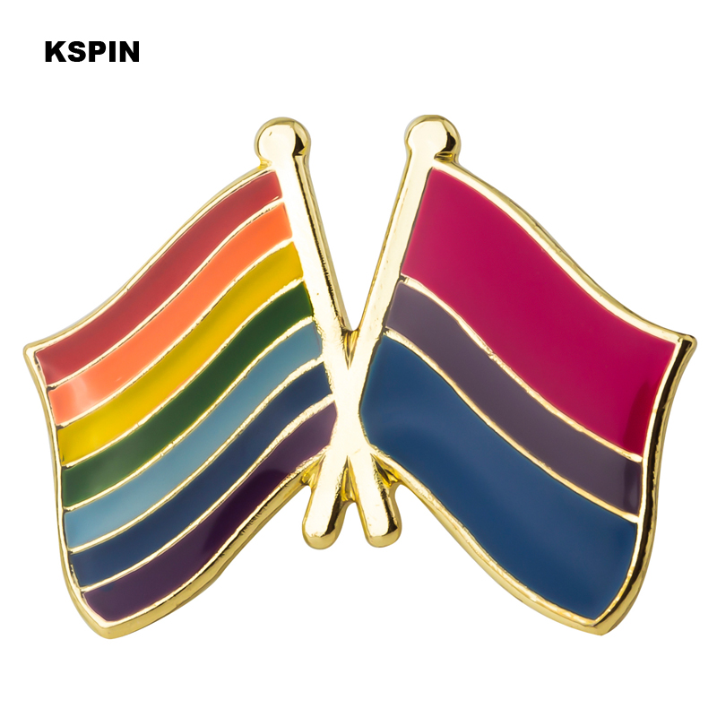 <font><b>Bisexual</b></font> <font><b>pride</b></font> & Rainbow Friendship Flag Badge Brooch Natinal Lapel Pins Flag Lapel Pins Country Flag Badge XY0501 image