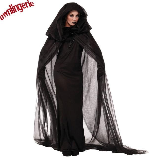 free ship scary women costumefloor length vampire black mesh hooded cloak halloween costume