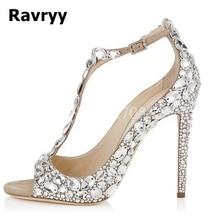 Ravryy 2018 Popular Rhinestone Buckle Strap Sitletto Heels Beautiful Wedding Bridal Shoes Open Toe White Black Pumps
