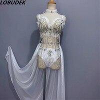 Ночной клуб бар женские пикантные сценические наряды Белый Стразы Бисер платье со шлейфом танцевальный вечерние костюм для вечеринки