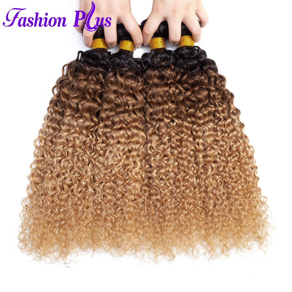 Malaysian Hair Ombre Kinky Curly Extensions Human Hair Weaving Bundles 1/3/4pc Remy 1B/30/27 Hair Bundles
