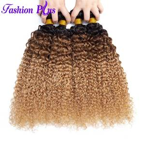 Malaysian Hair Ombre Kinky Curly Extensions Human Hair Weaving Bundles 134pc Remy 1B3027 Hair Bundles