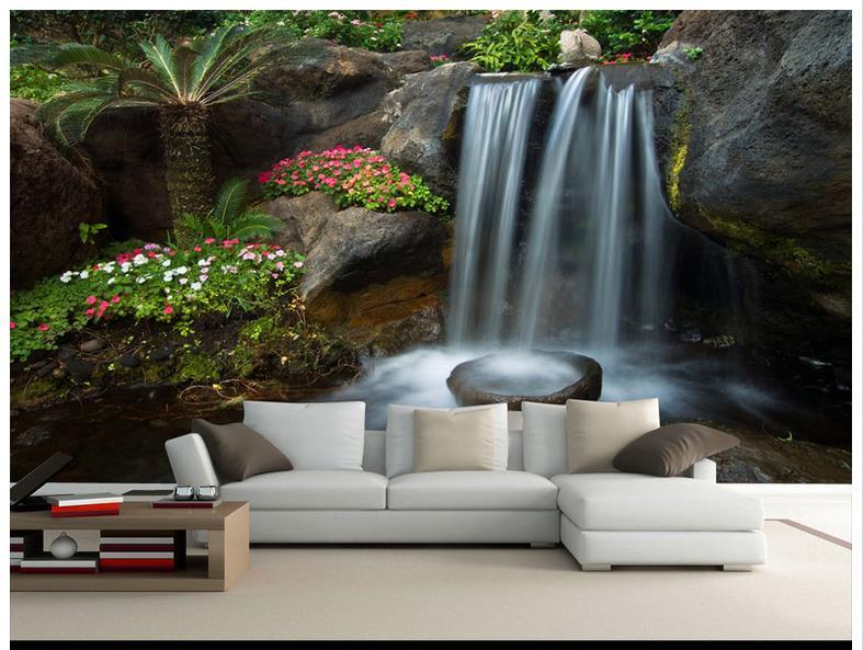 US $10.22 61% OFF|Hohe Qualität Heißer Verkauf Custom 3d tapete Wasserfall  wasser generative hintergrund wand garten steingarten wand wandmalereien ...